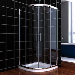 SALLY B00S01216 Quadrant Shape Aluminum Frame Off Set Sliding Shower Cabin