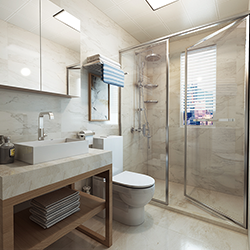 SALLY C1424 Prefabricated bathroom with steel frame and tile finish
