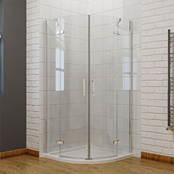 SALLY AWH71S4 Quadrant Curved Semi-frame Pivot Hinge Shower Doors with Stainless Handle