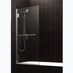 SALLY A015 8mm Rectangle Hinge Safety Glass Bath Screen with Towel Bar