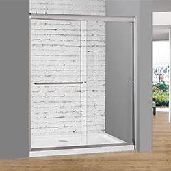 SALLY B0322P2 Full Chrome Aluminum Frame Bypass Sliding Shower Two doors