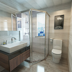 SALLY C1818 Prefabricated bathroom with steel frame and tile finish