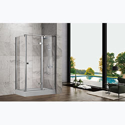 SALLY A069 Tempered Glass Semi Frame Hinge Door with Side Panel Pivot Shower Door