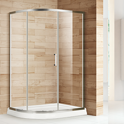 SALLY BP12S3 3 Piece Glass Panels Curve Shower Enclosure with Single Door
